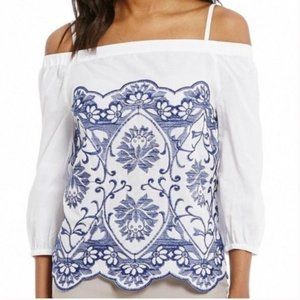 NWT Ivanka Trump Embroidered Off Shoulder Blouse
